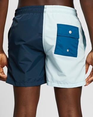Bather Trunk Co. Solid Colour Block Trunks - Swimwear (Baby Blue & Navy)