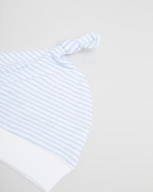 Purebaby Knot Hat - Headwear (Pale Blue Melange Stripe)