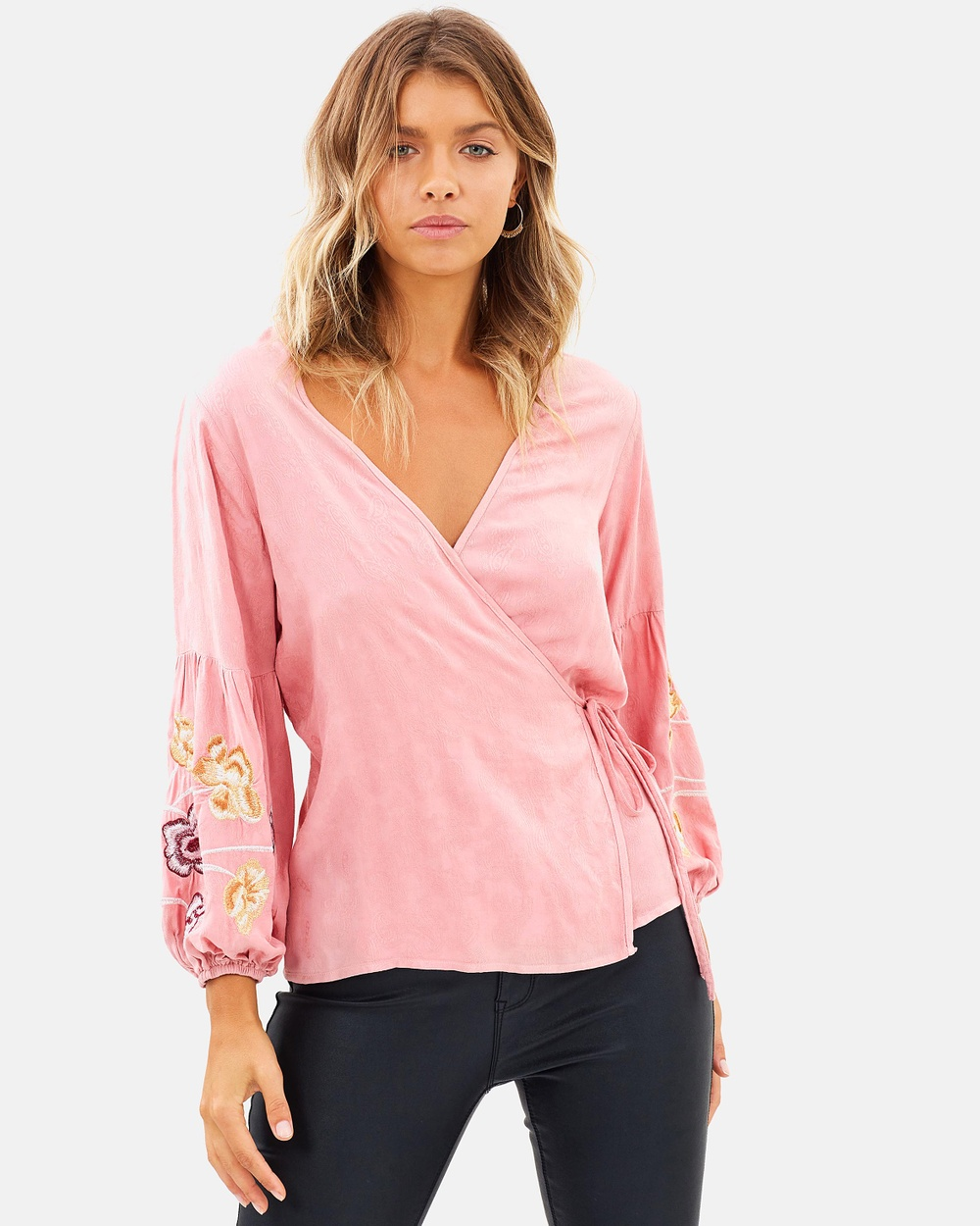 Atmos & Here ICONIC EXCLUSIVE Alix Embroidered Sleeve Wrap Top Tops Soft Pink ICONIC EXCLUSIVE Alix Embroidered Sleeve Wrap Top