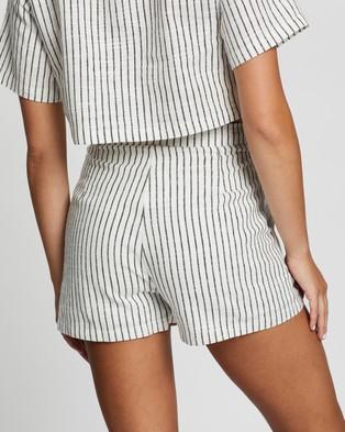 Atmos&Here Billie Linen Blend Shorts - High-Waisted (White Stripe)