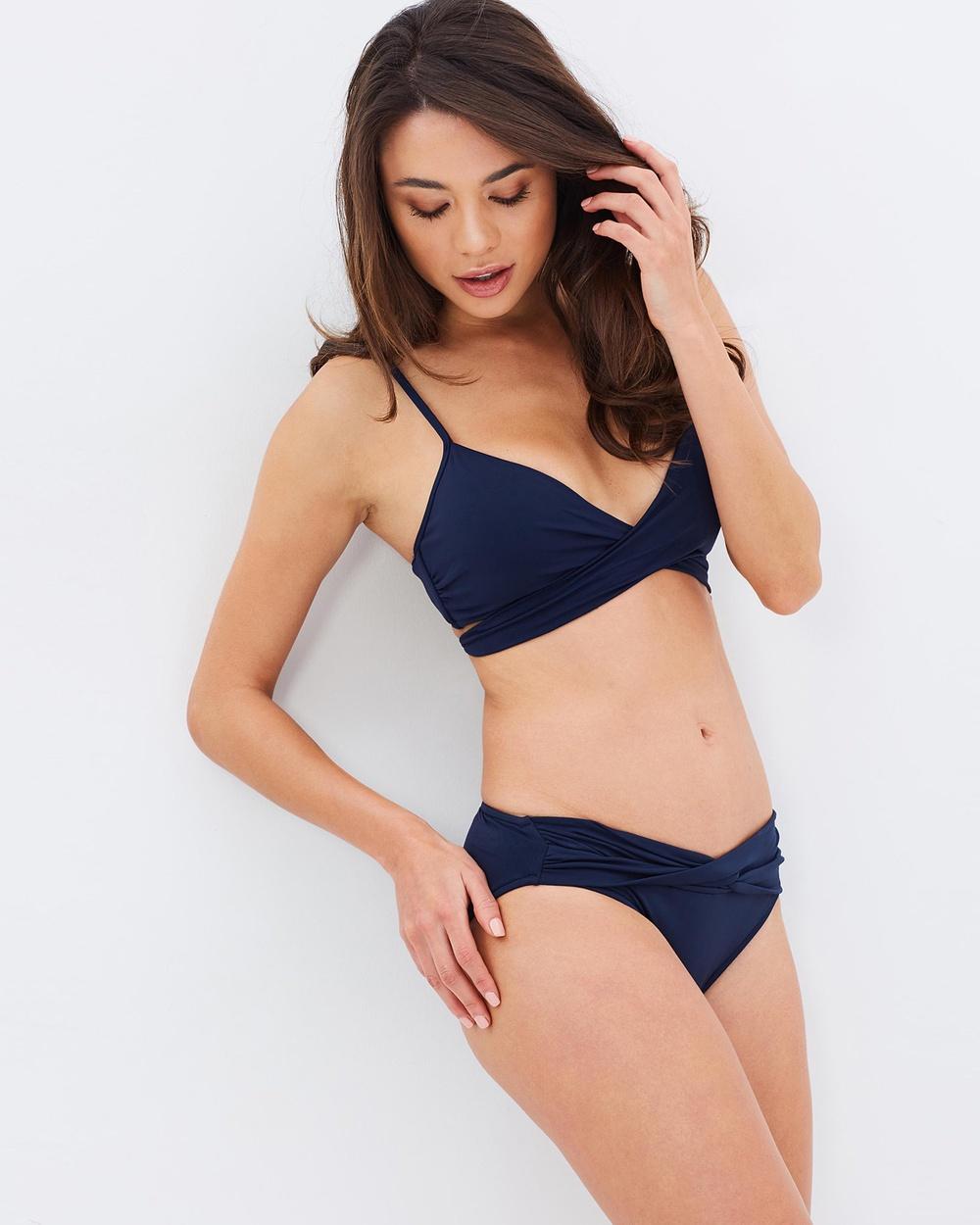 Seafolly Wrap Front Bralette Bikini Tops Indigo Wrap Front Bralette