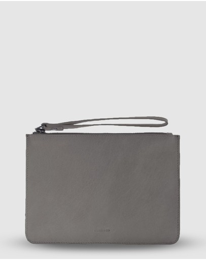 Cobb & Co Mossman Leather Large Pouch Charcoal