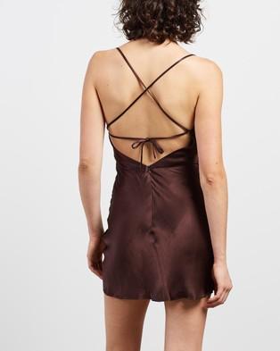 Shona Joy Giselle Asymmetrical Cowl Bias Mini Dress - Dresses (Chocolate)