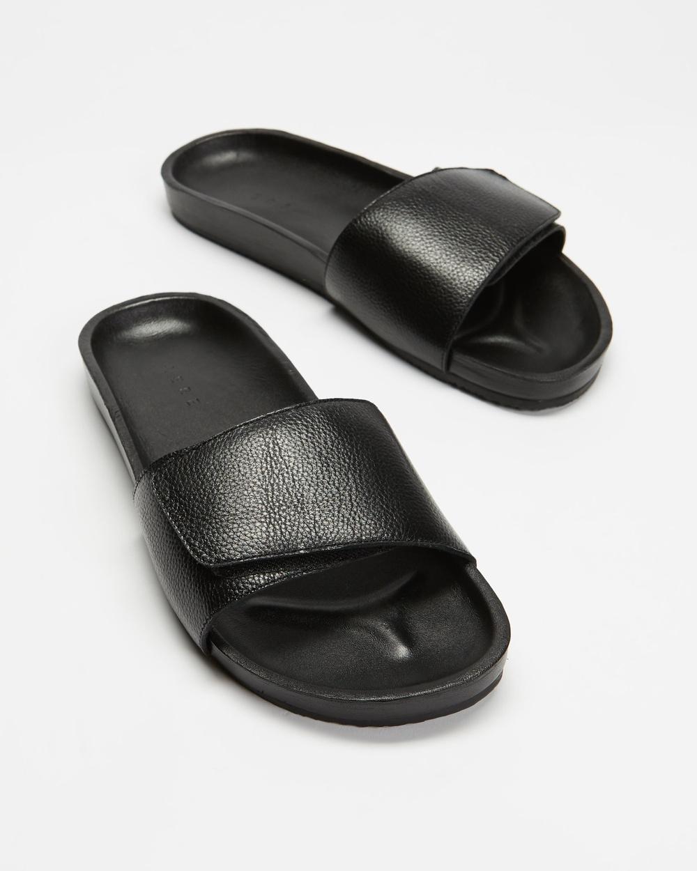AERE Tenere Leather Slides Sandals Black