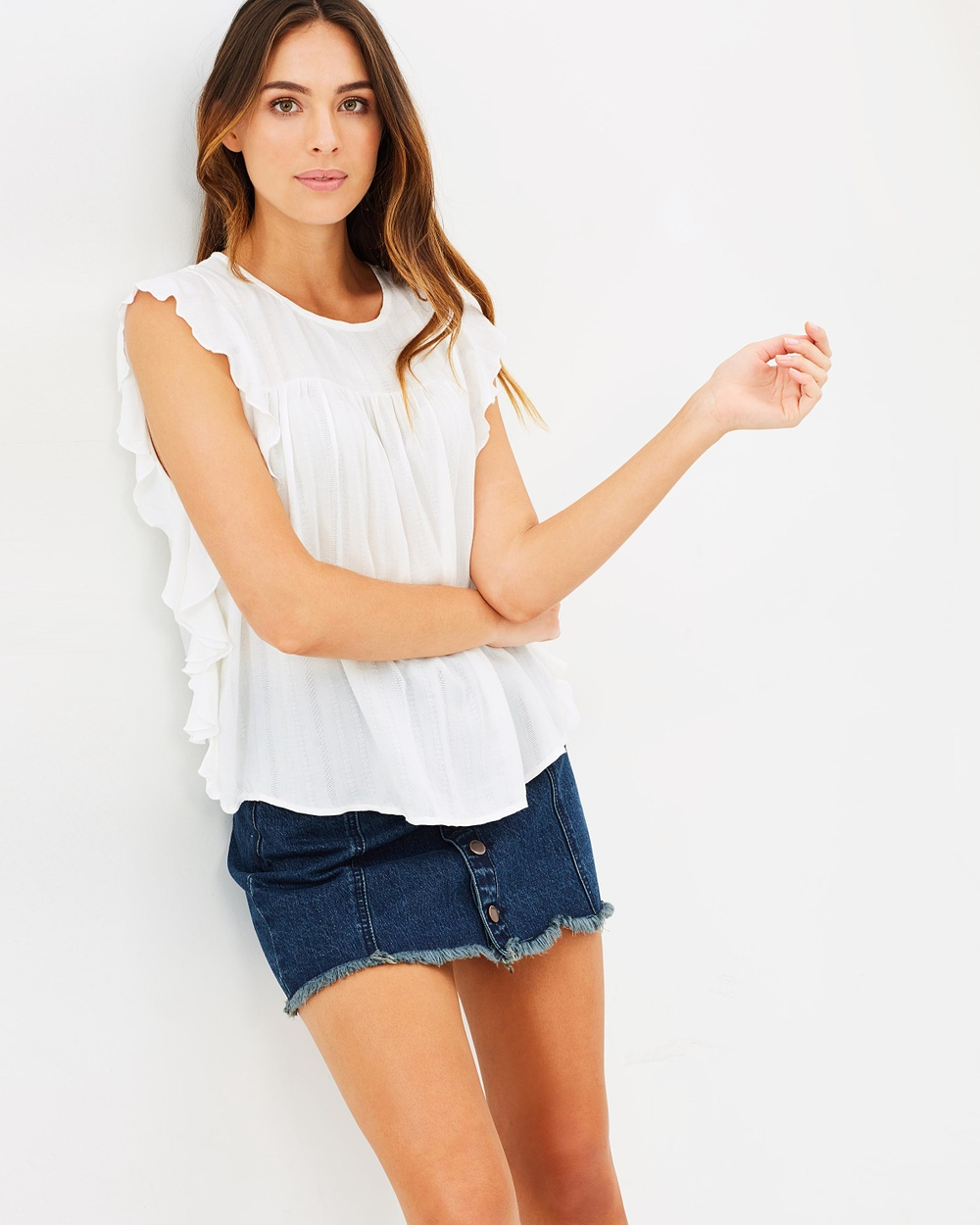ONLY Kelly Frill Top Tops Cloud Dancer Kelly Frill Top