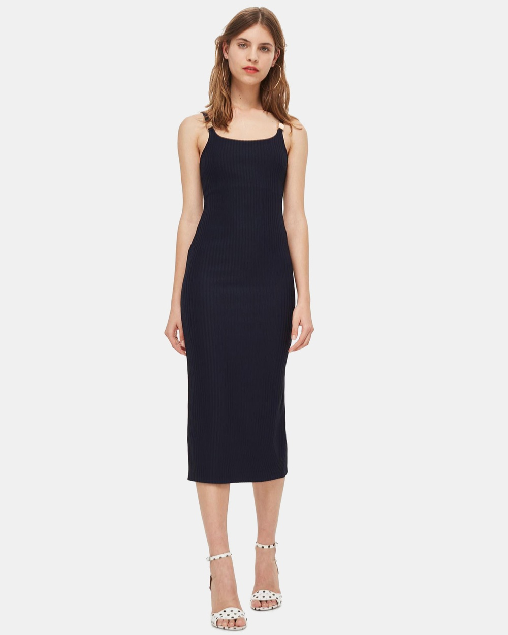 TOPSHOP Buckle Strap Detail Midi Dress Bodycon Dresses Navy Blue Buckle Strap Detail Midi Dress