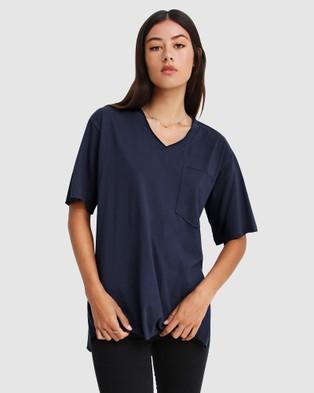 Belle & Bloom - Brave Soul Oversized T Shirt Short Sleeve T-Shirts (Navy) T-Shirt