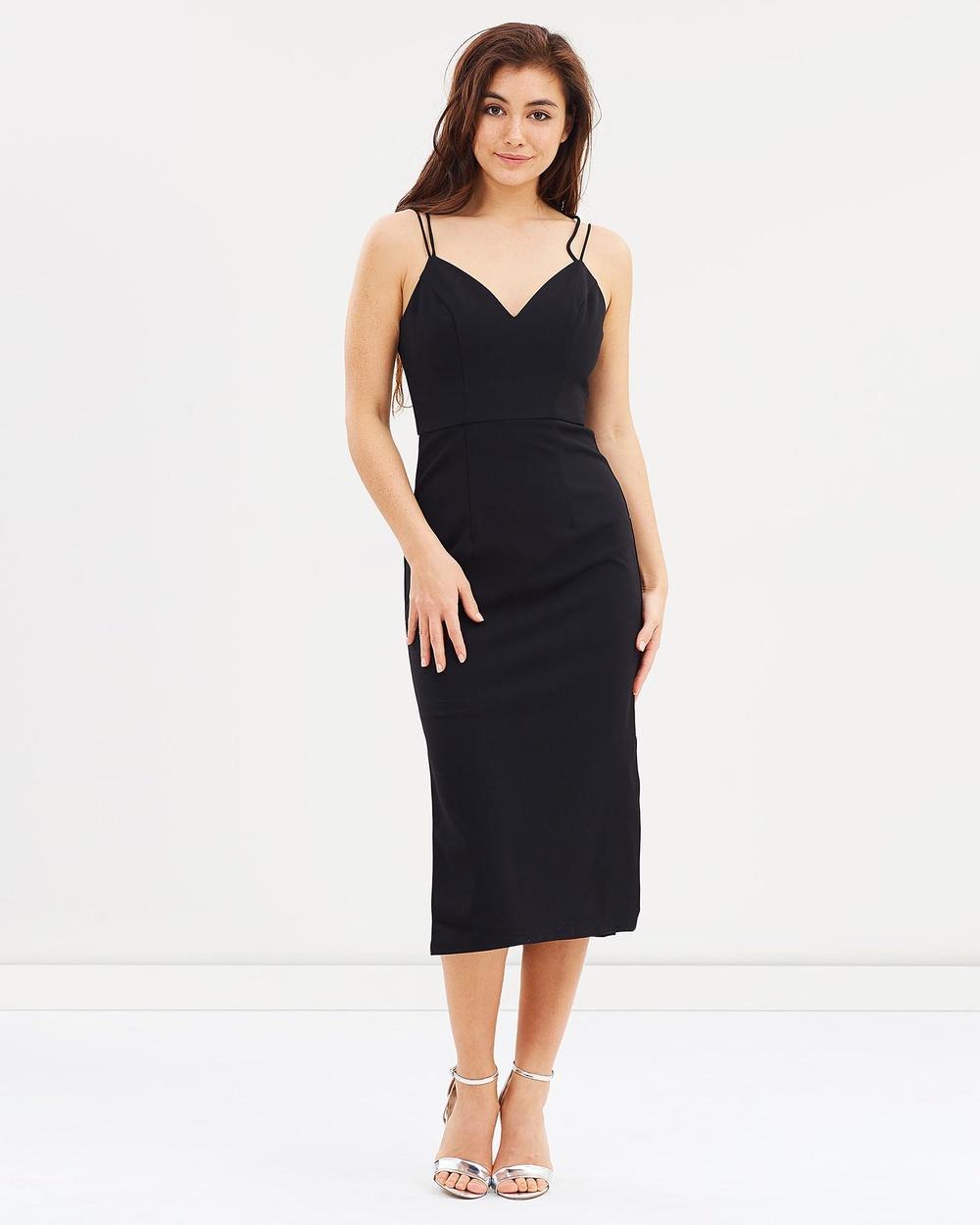 Lumier Black Nixie Twin Strap Midi Dress
