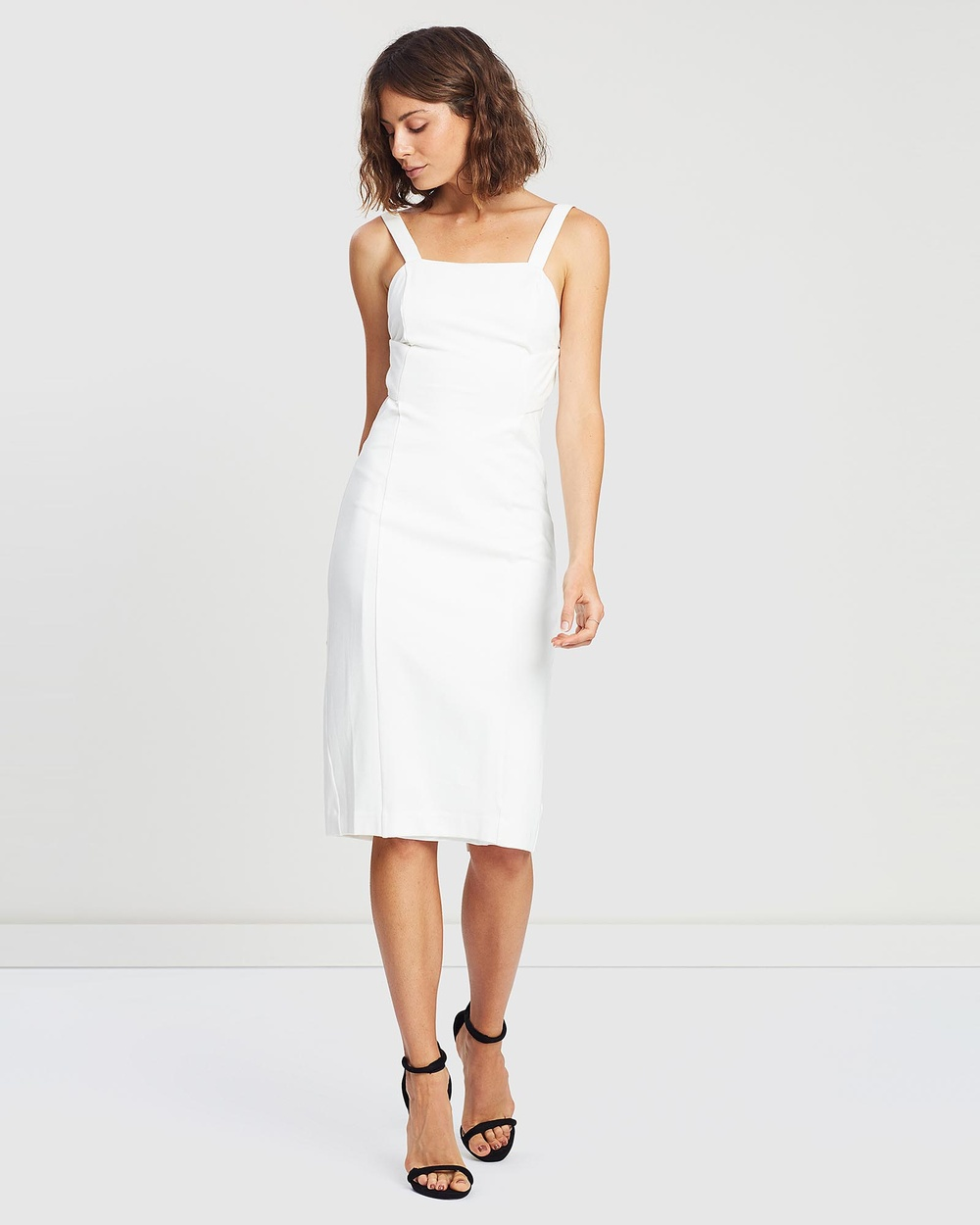 Third Form White Banded Midi Dress