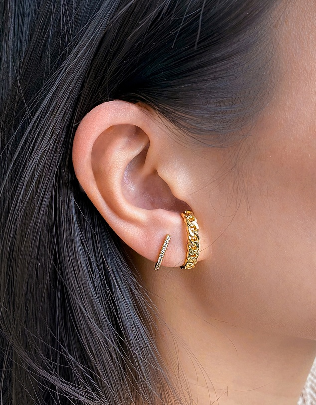 Women Curb Chain Gold Ear Stack Set