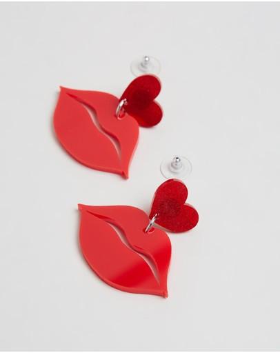 Haus Of Dizzy Hot Lips Earrings Red