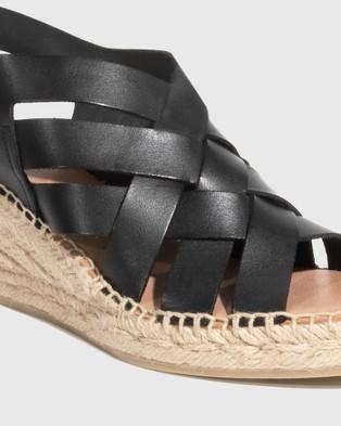 Wittner Utari Leather Woven Strap Espadrille Wedges - Wedges (Black)