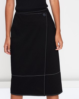 FRIEND of AUDREY Zuri Contrast Stitching Skirt - Pencil skirts (Black)