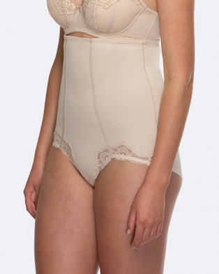 Hush Hush Whisper Firm Control High Waist Lace Brief - Briefs (NUDE)