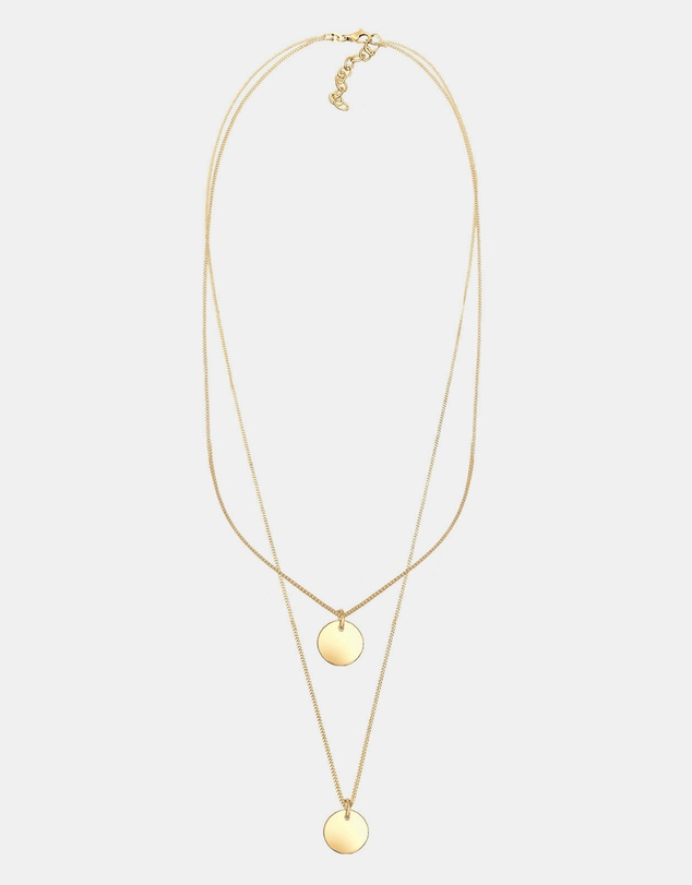 Elli Jewelry - Necklace 925 Sterling Silver Gold Plated Layered Circle