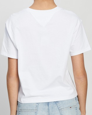 Tommy Jeans Tommy Flag Tee - T-Shirts & Singlets (White)