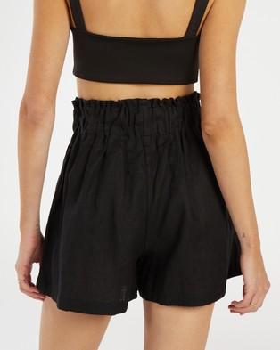 AERE Linen Lounge Shorts - High-Waisted (Black)