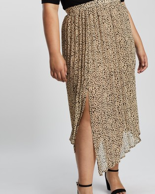 Atmos&Here Curvy Myla Pleated Skirt - Pleated skirts (Beige Animal)