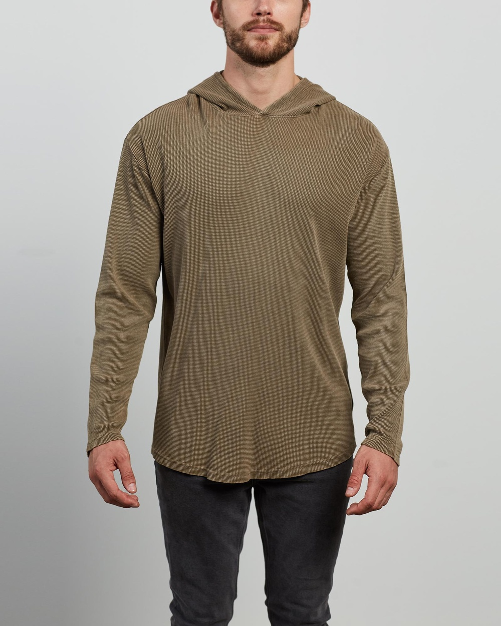 Silent Theory - Hooded Waffle LS Tee - T-Shirts & Singlets (BROWN) Hooded Waffle LS Tee