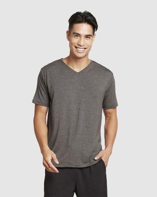 Boody Organic Bamboo Eco Wear 2 Pack V Neck T Shirt - Short Sleeve T-Shirts (Dark Marl)