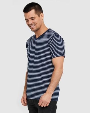 Bamboo Body Bamboo V Neck T Shirt - T-Shirts & Singlets (Navy & White Stripe)