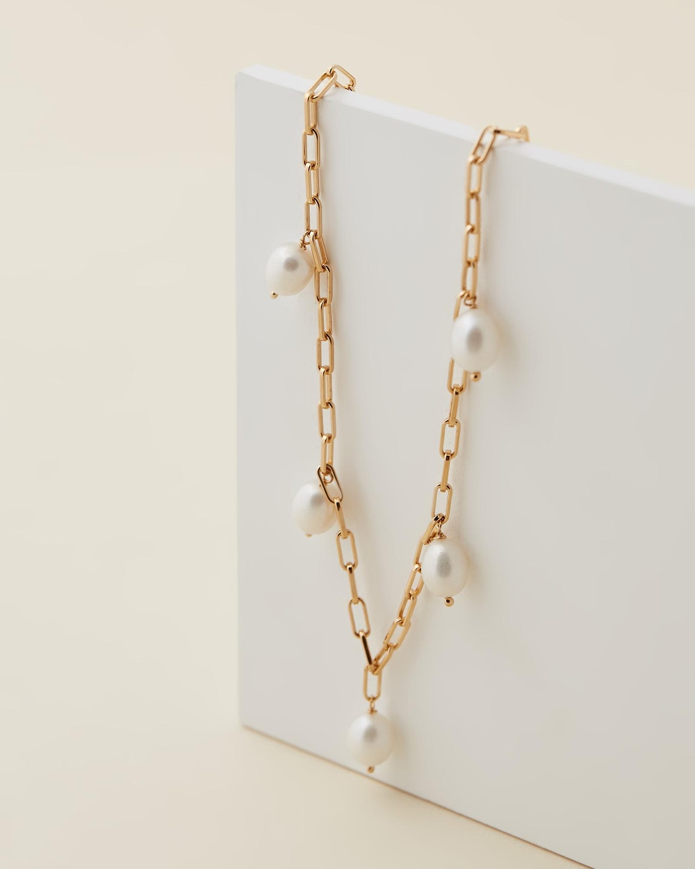 Jackie Mack Sol Pearl Necklace Jewellery 18k Yellow Gold Vermeil
