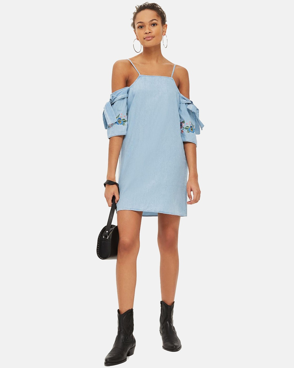 TOPSHOP MOTO Embroidered Sleeve Shift Dress Dresses Bleach MOTO Embroidered Sleeve Shift Dress