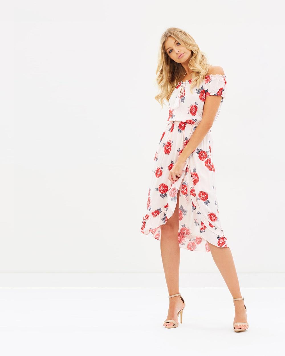 Atmos & Here ICONIC EXCLUSIVE Tasha Off Shoulder Dress Printed Dresses Chrysanthemum Stencil ICONIC EXCLUSIVE Tasha Off-Shoulder Dress