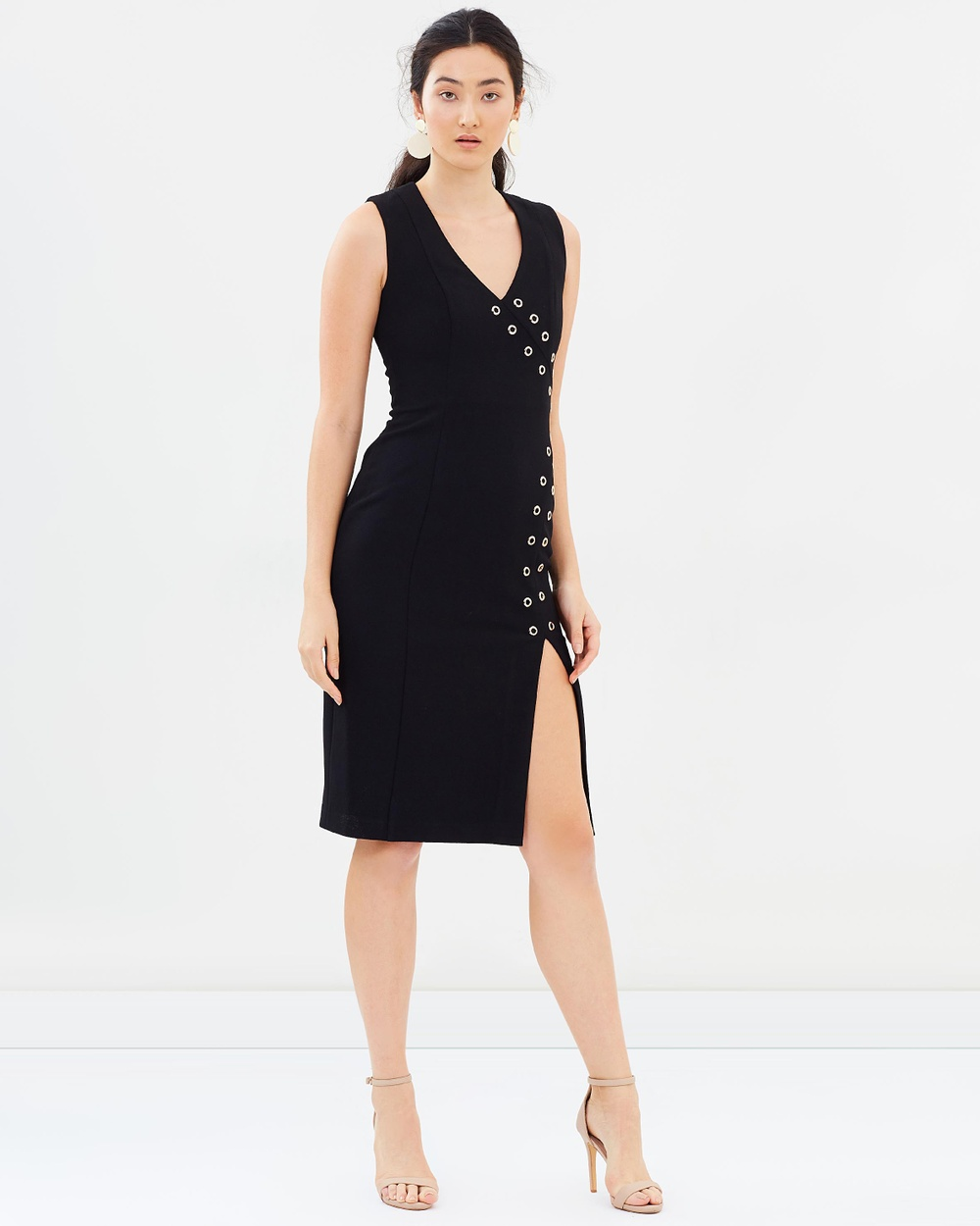 Rebecca Vallance Adriatic Eyelet Midi Dress Bodycon Dresses Black Adriatic Eyelet Midi Dress
