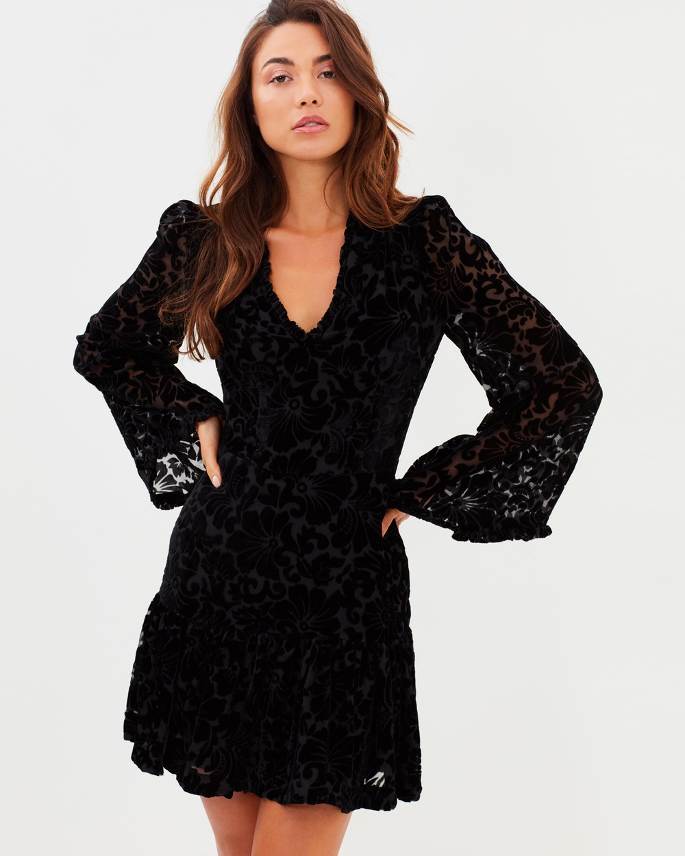 Cooper St Venice Long Sleeve Mini Dress Dresses Black Venice Long Sleeve Mini Dress