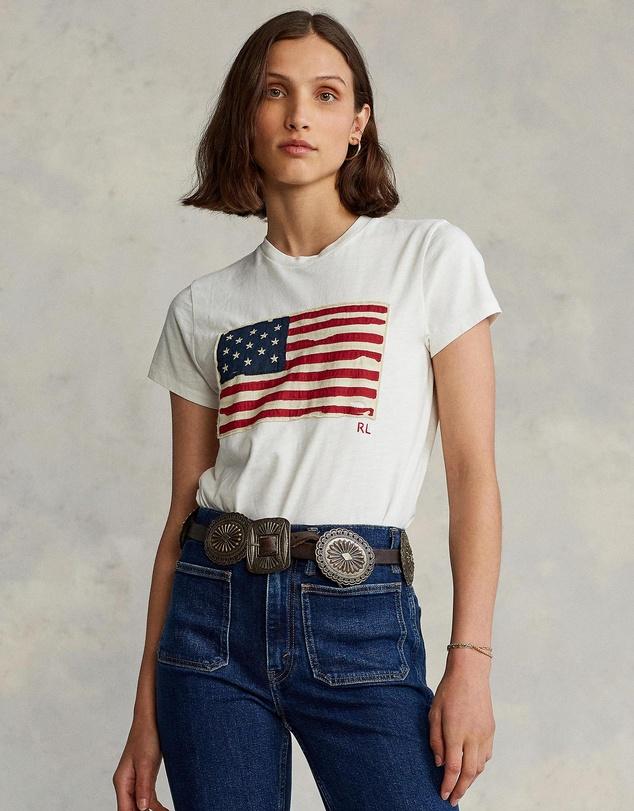 Women Flag Jersey Graphic T-Shirt
