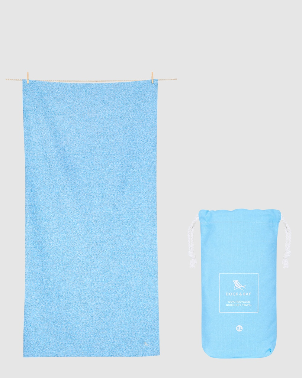 Dock & Bay Extra Large Fitness Towel 100% Recycled Essential Collection Gym Yoga Blue