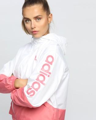 adidas Performance Essentials Oversize Logo Windbreaker - Coats & Jackets (White & Hazy Rose)