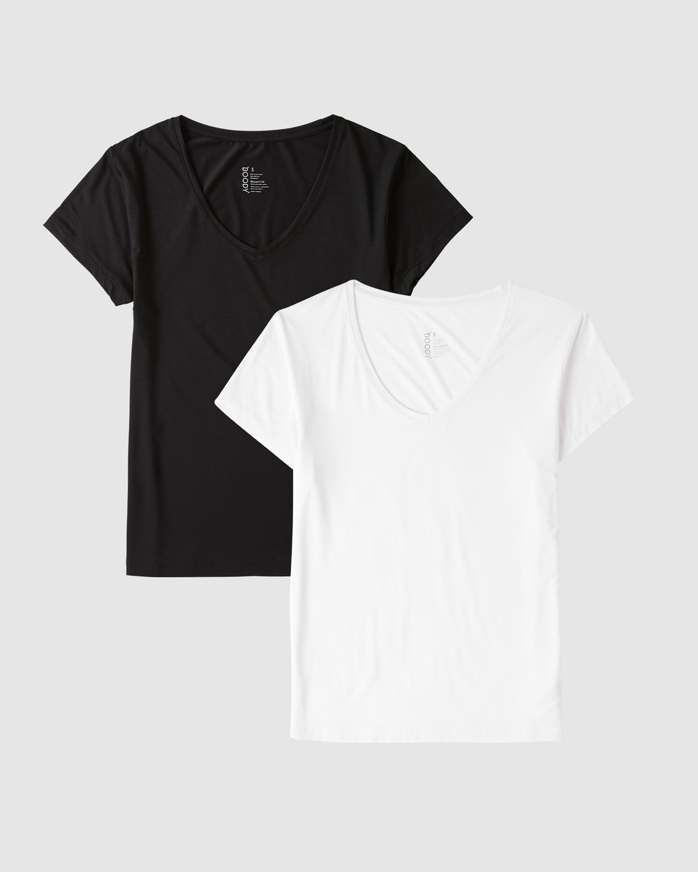 Boody Organic Bamboo Eco Wear - 2 Pack V Neck T Shirt - Short Sleeve T-Shirts (Black & White) 2 Pack V-Neck T-Shirt