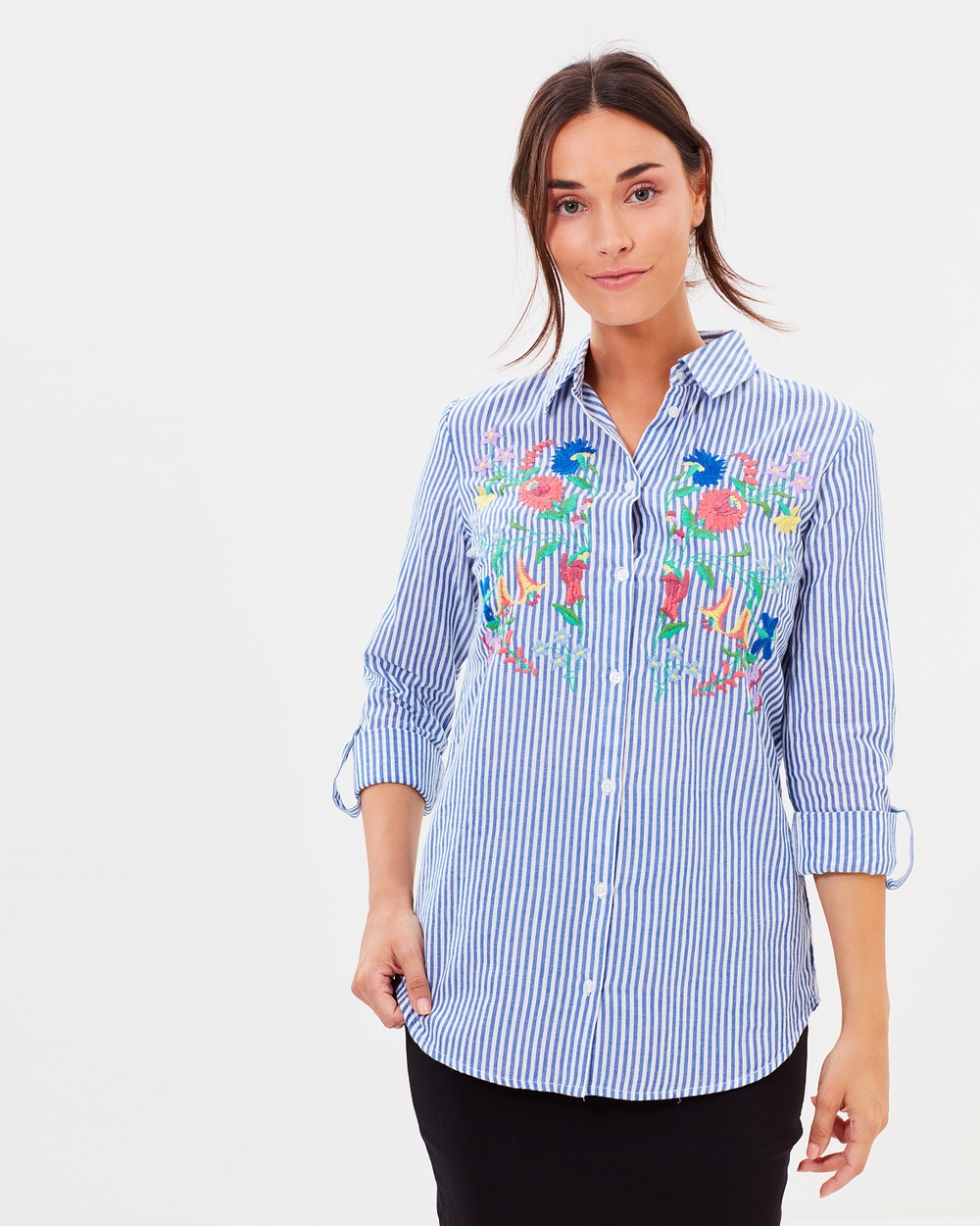 Dorothy Perkins Stripe Embroidered Shirt Tops Navy Blue Stripe Embroidered Shirt