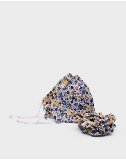 Morgan & Taylor Tahni Face Mask + Scrunchie Set Blue/ Brown/ Yellow