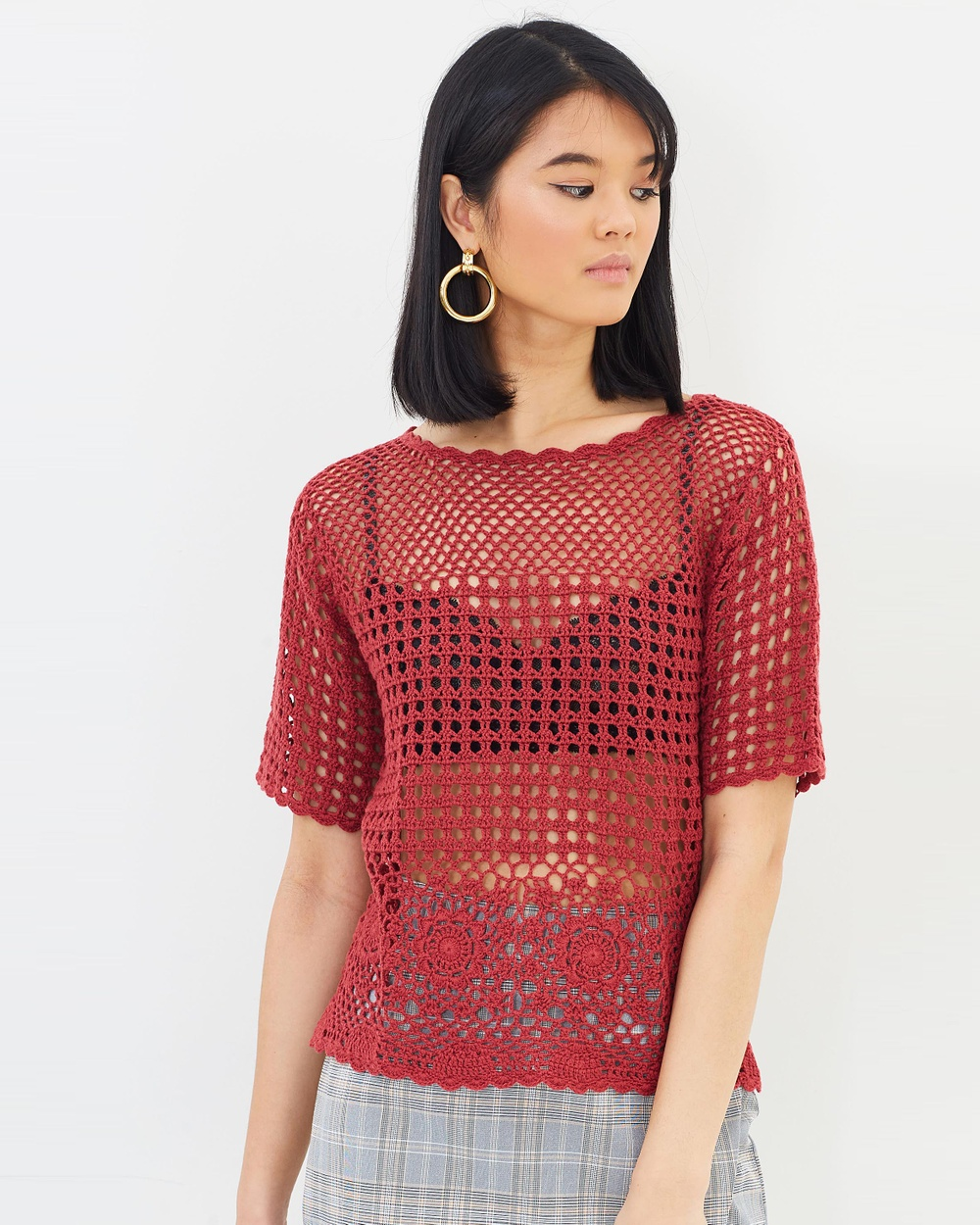 Oasis Crochet Knitted Top Tops Mid Orange Crochet Knitted Top