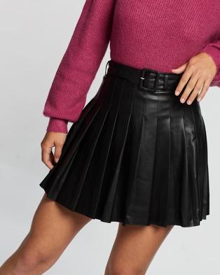 Dazie Imagination Pleated PU Skirt - Leather skirts (Black)