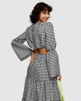 TOPSHOP Gingham Flute Sleeve Blouse - Cropped tops (Monochrome)