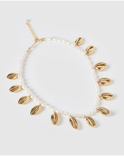 Miz Casa And Co Abaco Pearl Cowrie Shell Necklace Gold