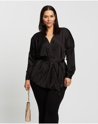 Missguided Curve - Plus Satin Plunge Tie Waist Blouse