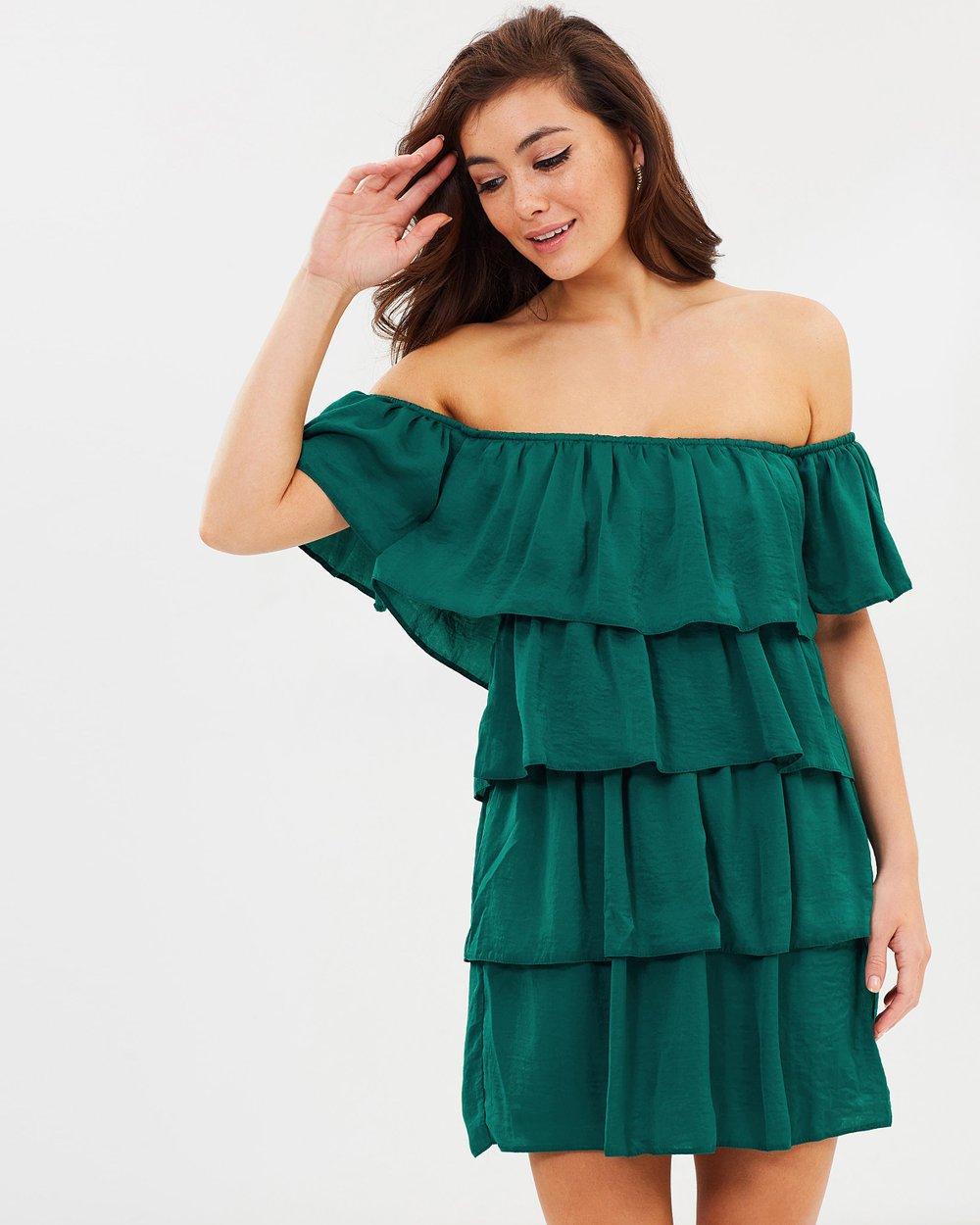 32482ddedd7 Tiered Ruffle Bardot Dress by Lipsy Online