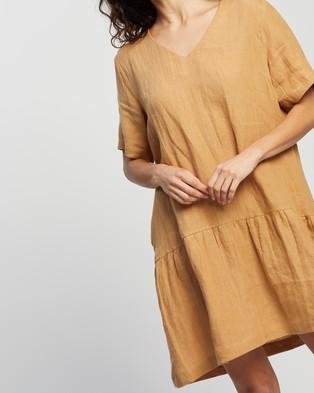 AERE Casual Linen Dress - Dresses (Camel)