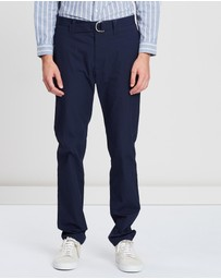 CERRUTI 1881 - D-Ring Belt Seersucker Pants