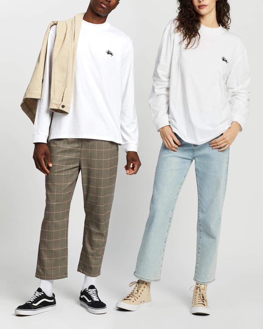 Stussy - Mock Neck LS Tee   Unisex - T-Shirts & Singlets (White) Mock Neck LS Tee - Unisex