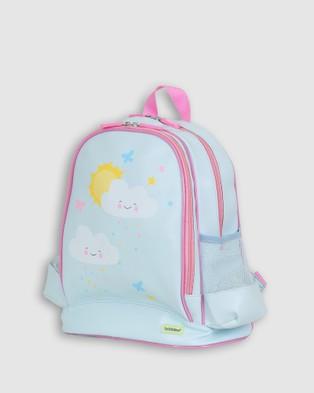 Bobbleart Large Backpack Lunch Bag Bento Box and Drink Bottle Happy Clouds - Backpacks (Light Blue)