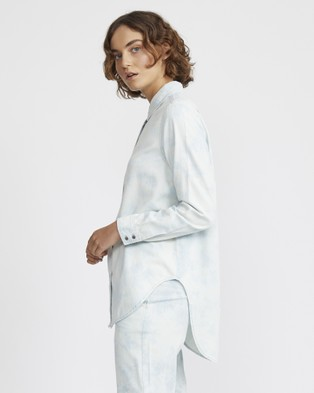 Jac & Mooki Bleached Chambray Shirt - Tops (bleached wash)