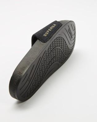 Superga 1908 Linen Slides   Women's - Slides (Black)