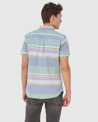 Superdry Classic East Coast Oxford Shirt - Shirts & Polos (Green Stripe)