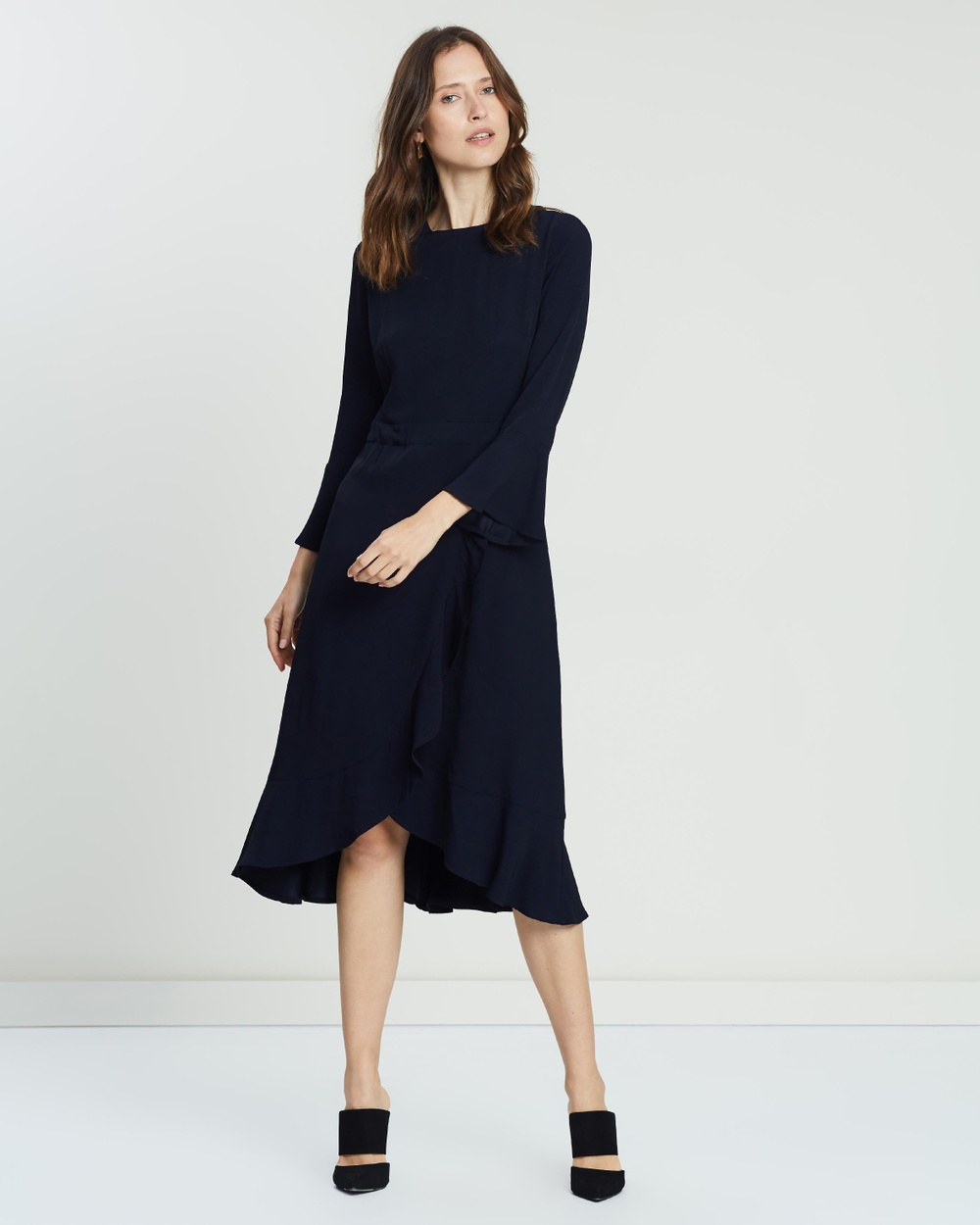 Ivy & Oak Blue Long Neckholder Volant Dress